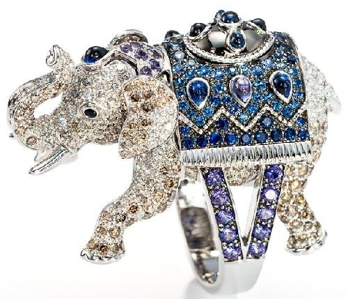 1108640dd31043 Frederic Boucheron: Ring set with white and brown diamonds, blue and purple  sappphires, cabochon pear shaped blue and purple sapphires and cabochon  black ...