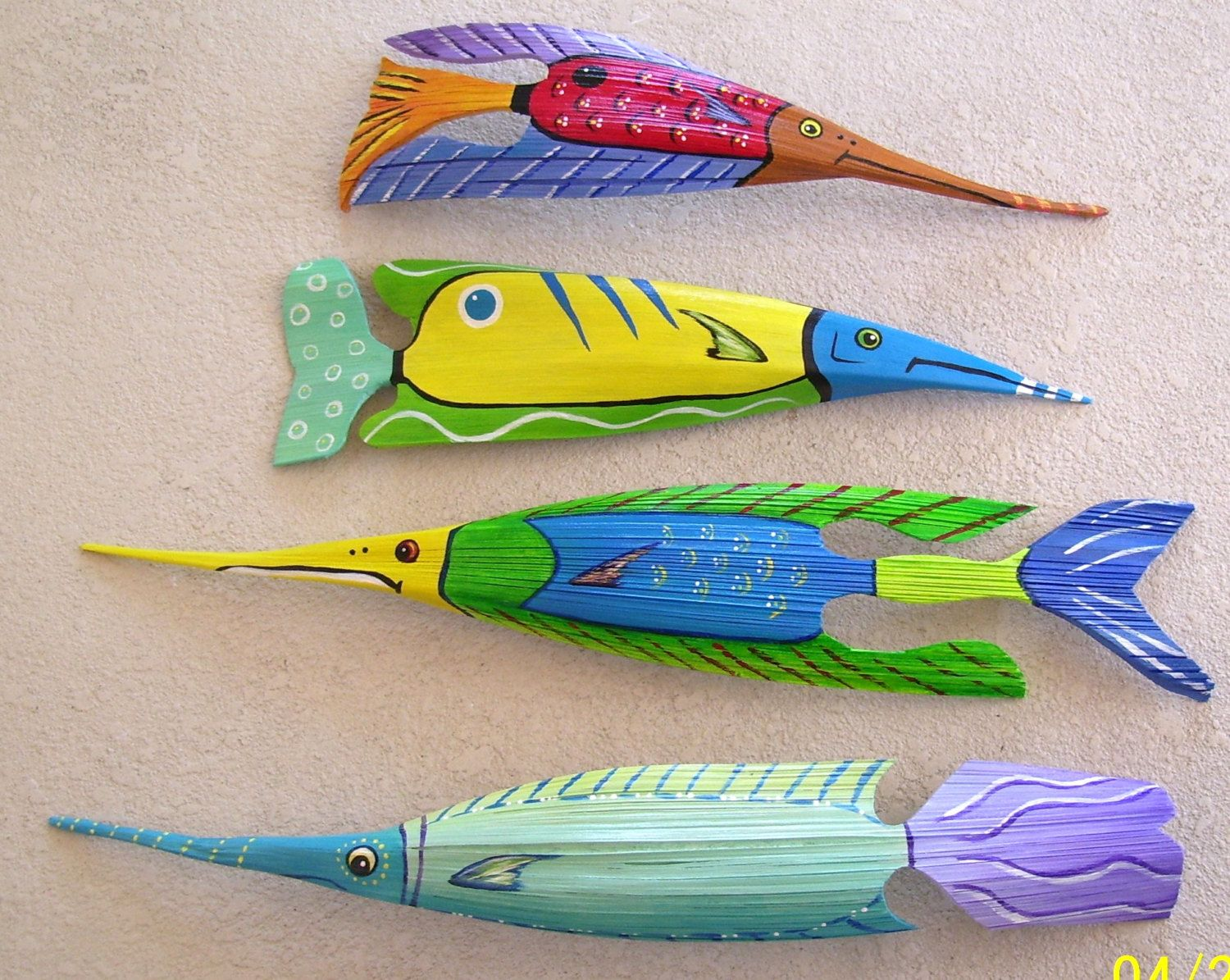 Tropical Fish Carved from Coconut Palm Seed Pod Yellow/Blue 25 ...