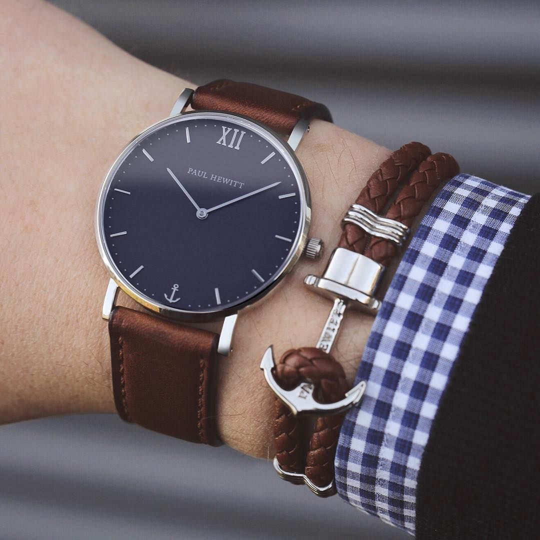 De Gold Relojes Leather Moda BraceletReloj Anchor Hombre BorxWdeC