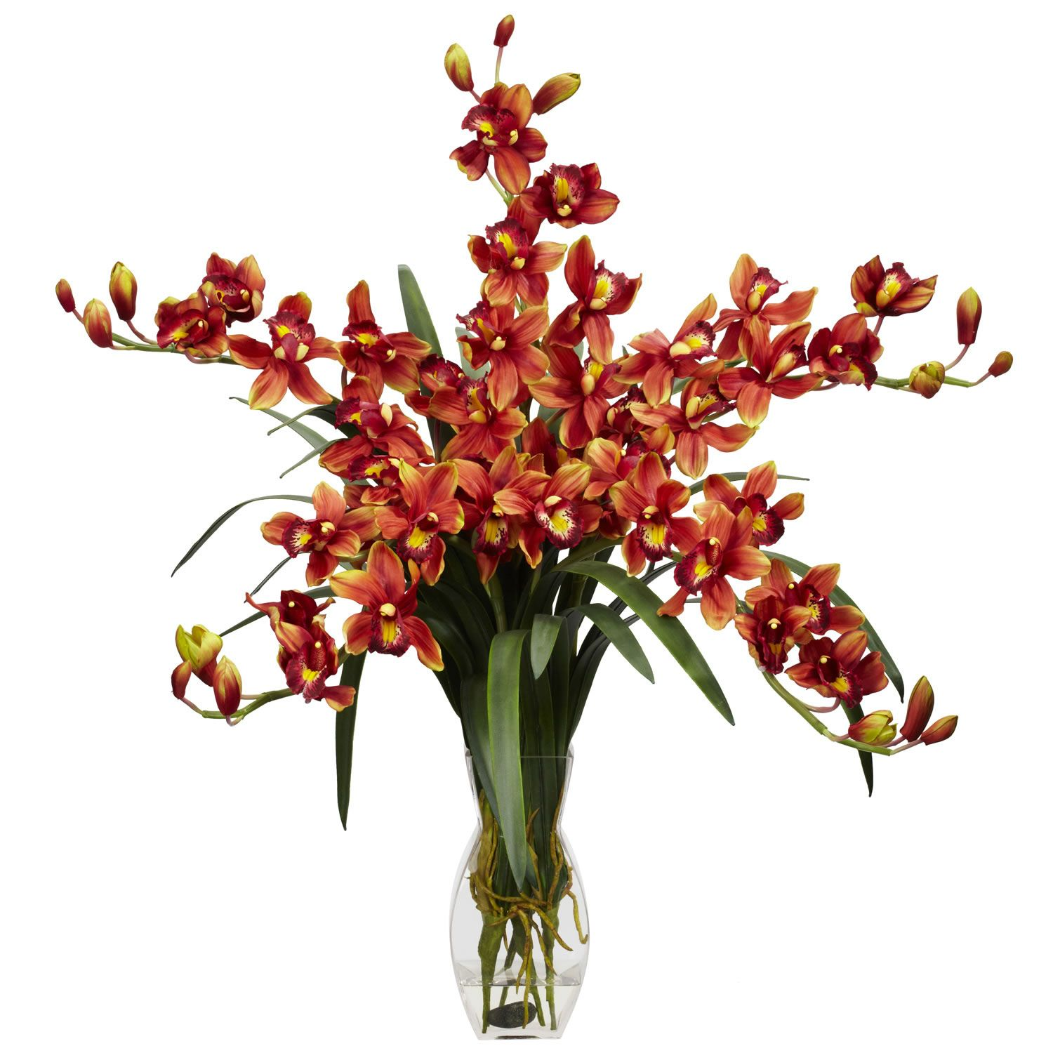 Burgundy cymbidium orchid silk flower arrangement pinterest