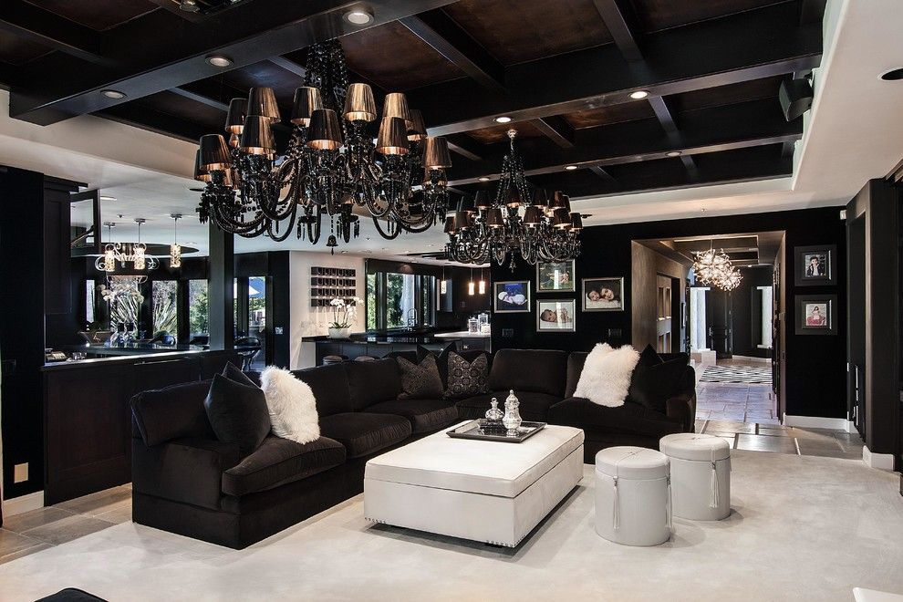 Khloe Kardashian House Decor Contemporary Living Room With Storage Ottomans In Orange County By Coast