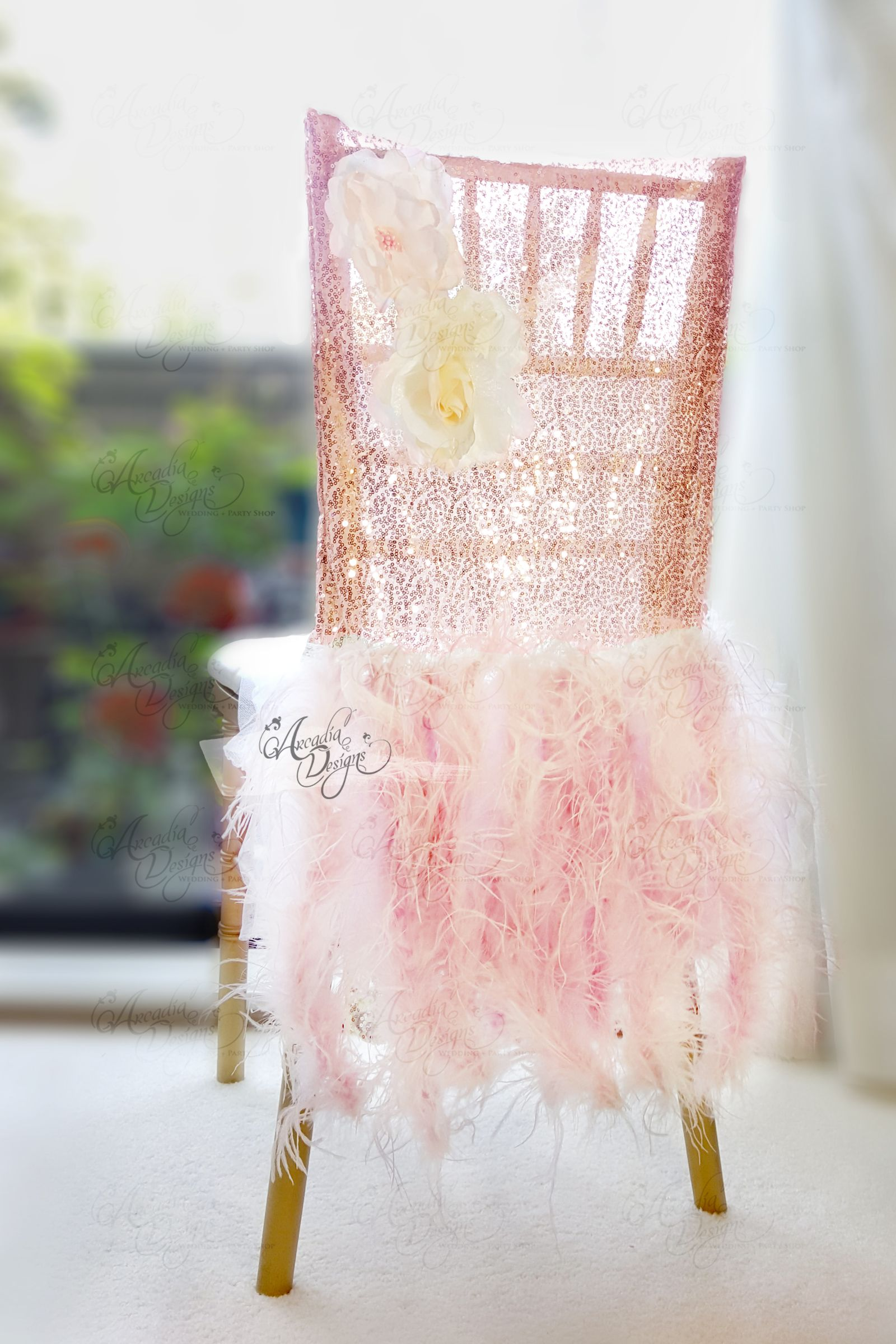 Gold Sequin Chair Covers Round Patio Table 6 Chairs Ostrich Feather Rose Sparkle