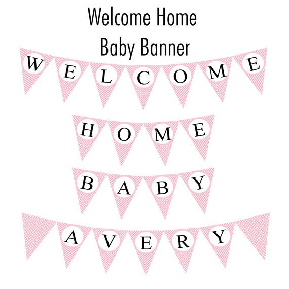 welcome home baby banner pink cotton candy by kcustomables on etsy