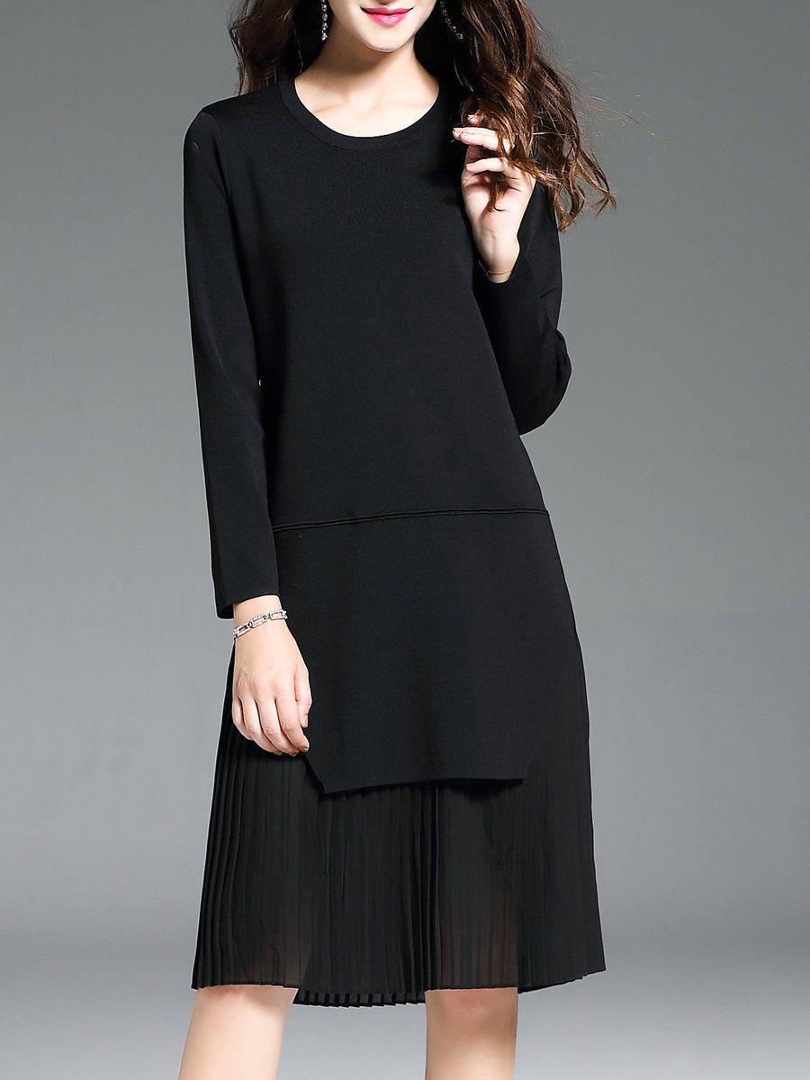c13836d966e2 Shop Midi Dresses - Black Crew Neck Shift Paneled Long Sleeve Midi Dress  online. Discover unique designers fashion at StyleWe.com.