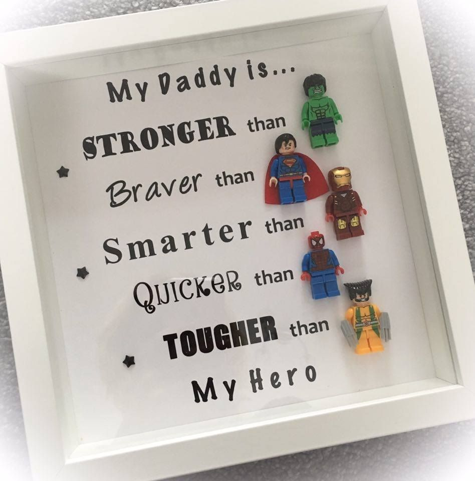PRE ORDER NOW FOR DELIVERY EARLY JAN Handmade Dad Daddy Superhero Frame With Figures Any Colour Background Available Can Also Be