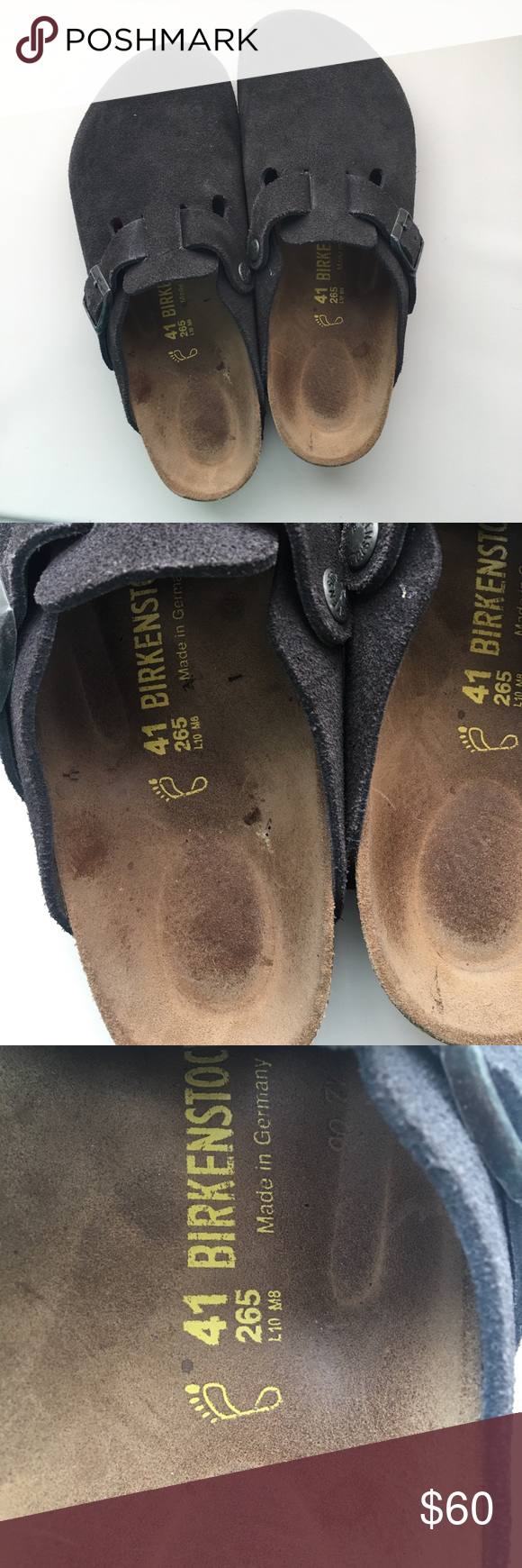 new style 22104 1d0d6 Birkenstock Betula 41 265 Dark Gray Suede Mules Birkenstock ...