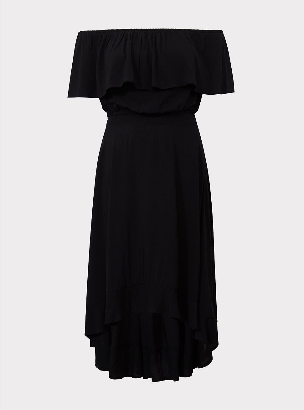 741b9fff481 Black Challis Off Shoulder   Ruffle Skirt 2-Piece Set in 2019