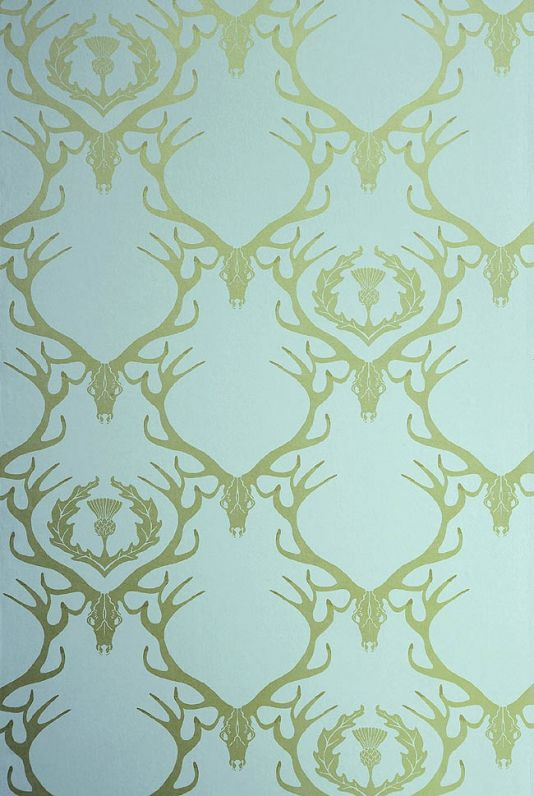 Deer Damask Wallpaper Aqua With Gold Stag Head And Antlers Thistle Design