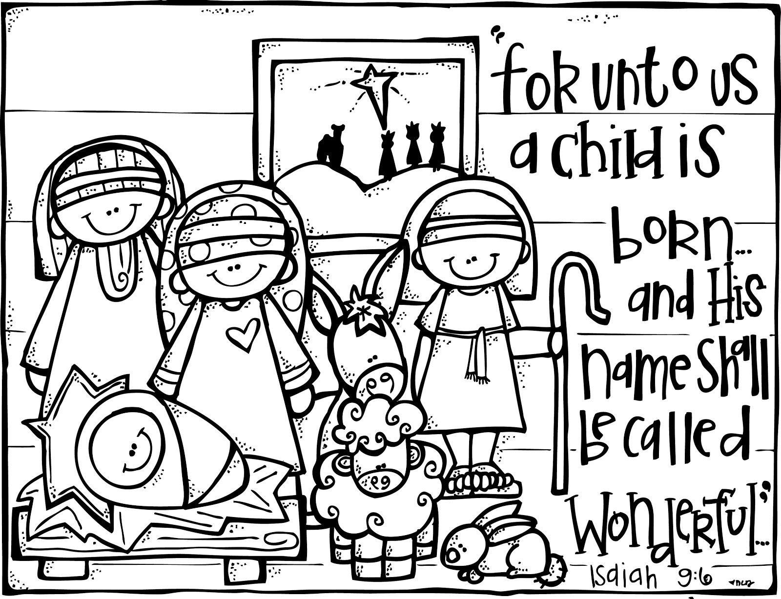 christian christmas activities: free nativity coloring page from