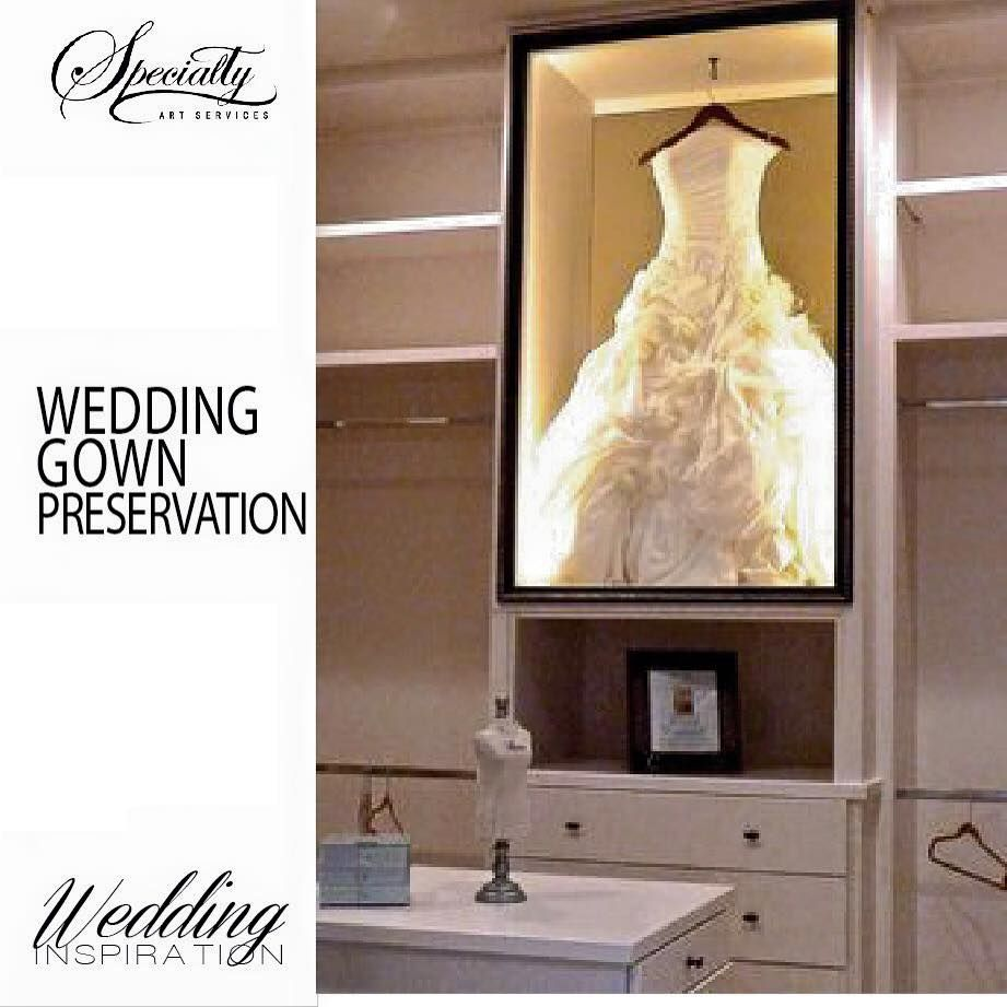 Wedding Gown In Preservation Shadow Box In Closet Wedding Dress Shadow Box Wedding Dress Frame Wedding Dress Display