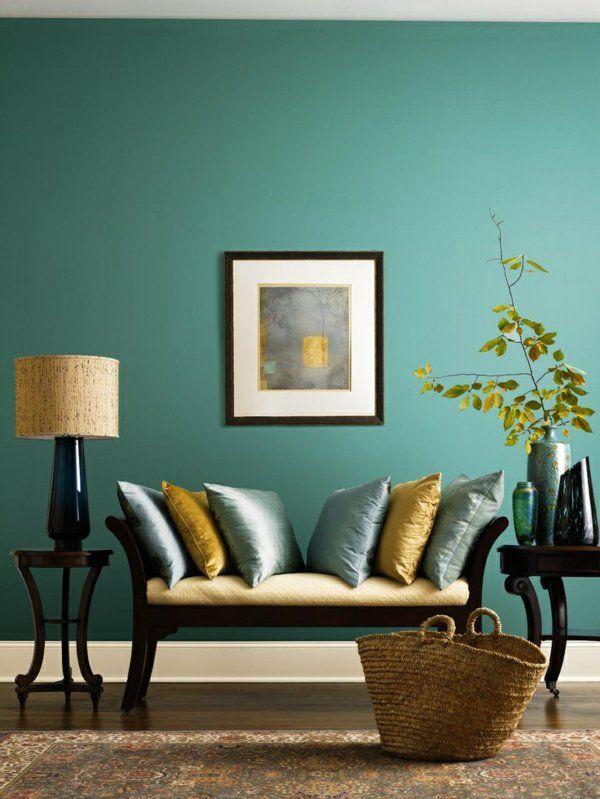 Wandfarbe tischlampe Türkis wandgestaltung couch kissen Katja - wohnzimmer schwarz turkis