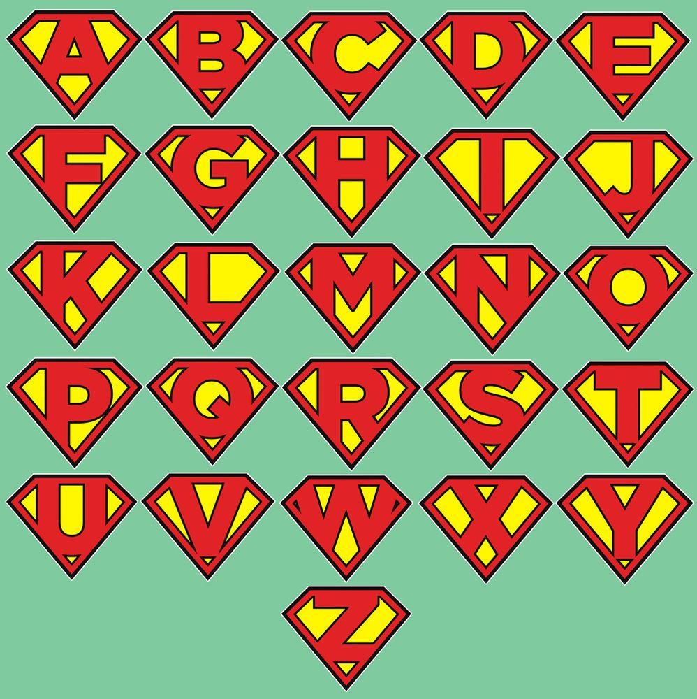 Superman Style Letter Emblem Sticker Vinyl Decal Alphabet ...