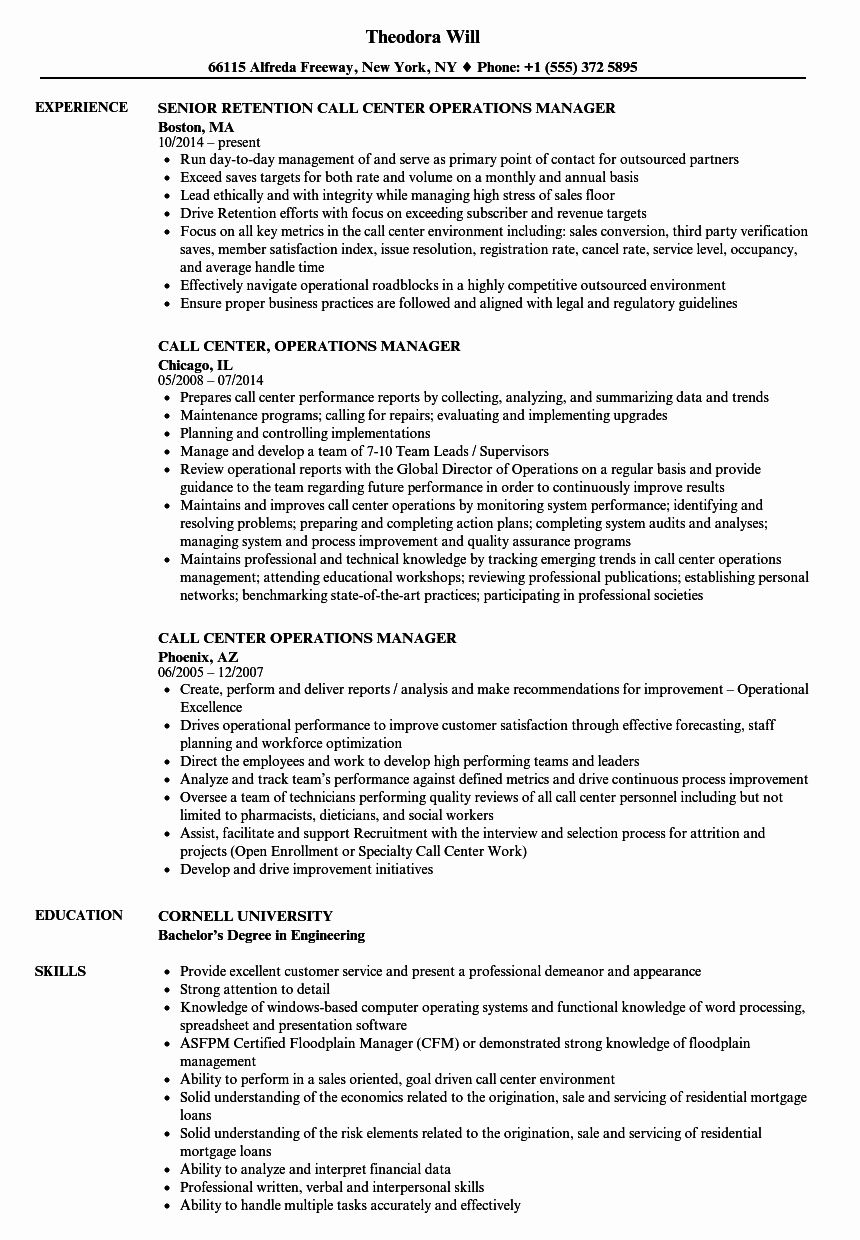 25 Call Center Manager Resume in 2020 Call center