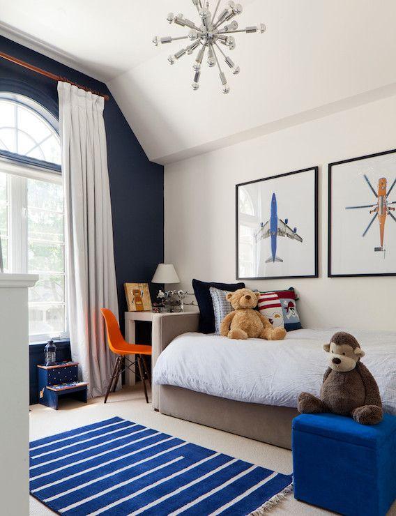 Merigo Design Boy S Rooms Benjamin Moore White Heron Navy Walls Wall Color Accent Blue Whi