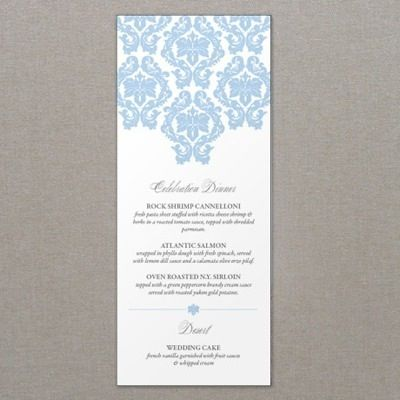 French Damask Wedding Menu Template