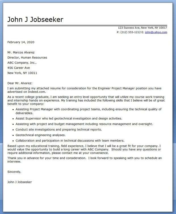Cover Letter Engineer Project Manager Career Tips and Resumes - engineering proposal sample