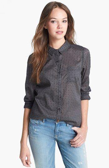Halogen® Roll Sleeve Cotton Shirt available at #Nordstrom