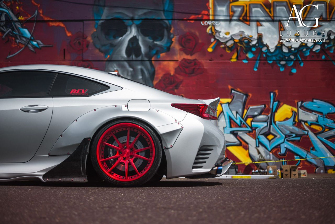 silver lexus rc350 fsport concave staggered red