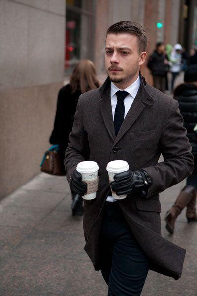 Men's Dark Brown Overcoat, White Dress Shirt, Black Dress Pants ...