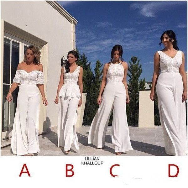 Beach Country Jumpsuit Bridesmaid Dresses 2018 Lace