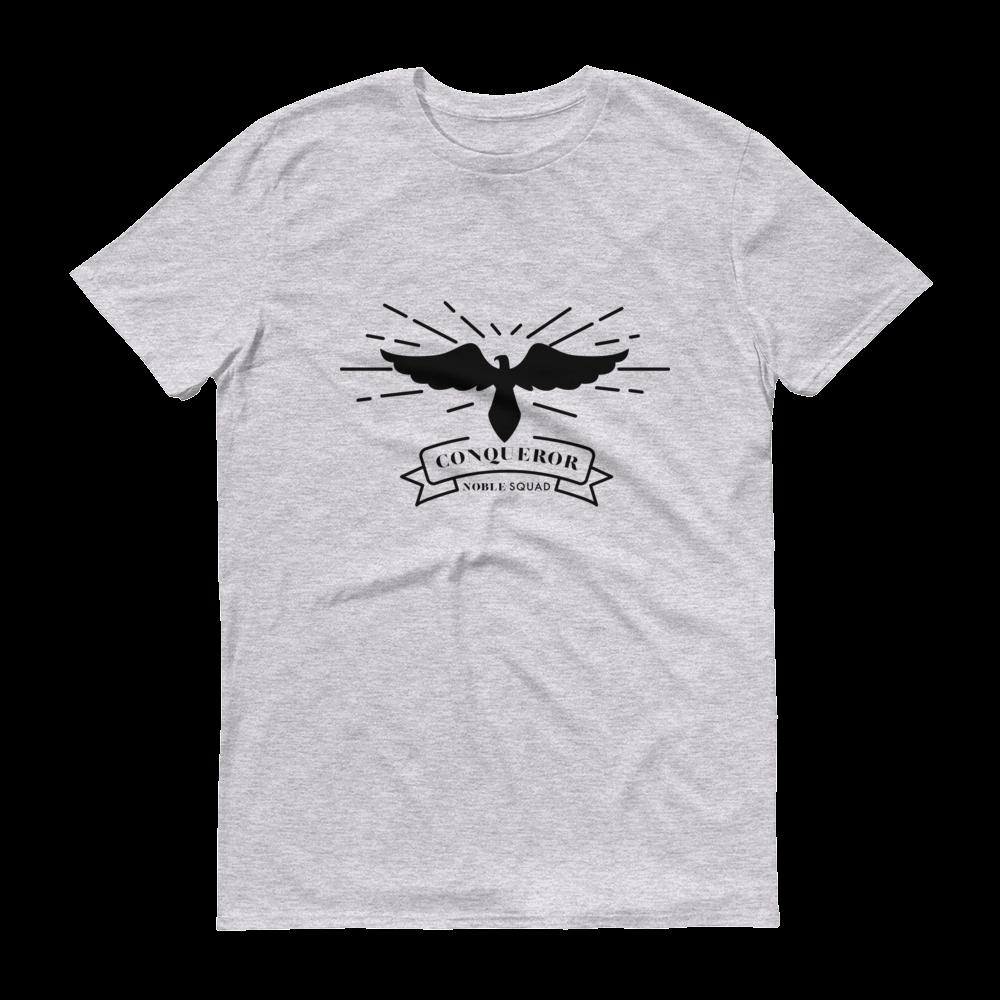 Conqueror Heather Grey TShirt Mens tops, Black tee