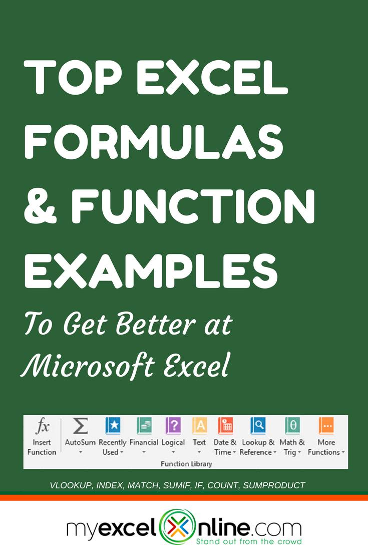 excel formulas function examples pinterest count tutorials