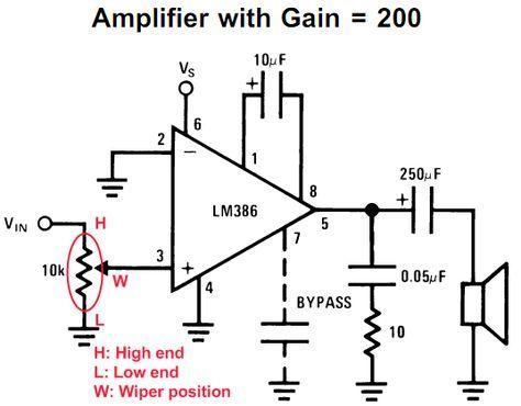 Lm386 Op Amp Schematic Audio Potentiometer Audio Amplifier Amplifier Electronics Basics