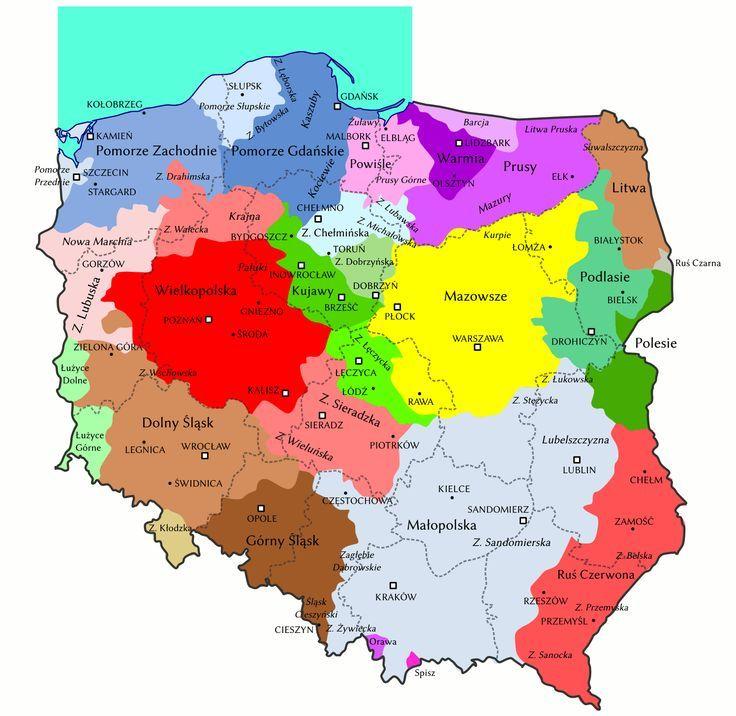 Mapa Regionow Polski Mapy Swiata Mapa Historia