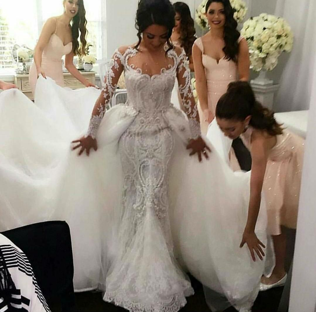 Romantic 2016 A Line Wedding Dresses With Detachable Tulle Overskirt She Detachable Train Wedding Dress Retro Wedding Dresses Long Sleeve Mermaid Wedding Dress