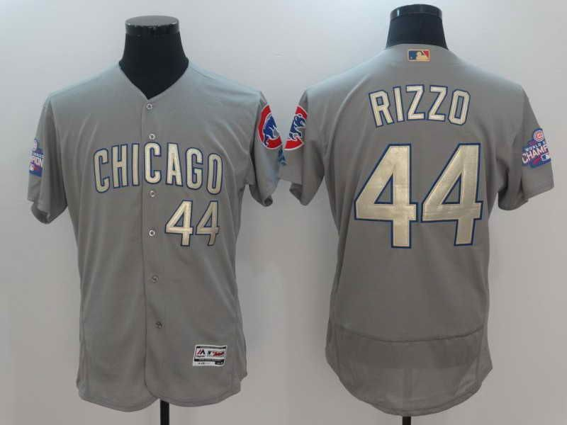 0b606ba4c74 ... jersey  mens chicago cubs anthony rizzo gray world series champions gold  stitched mlb majestic 2017 flex base