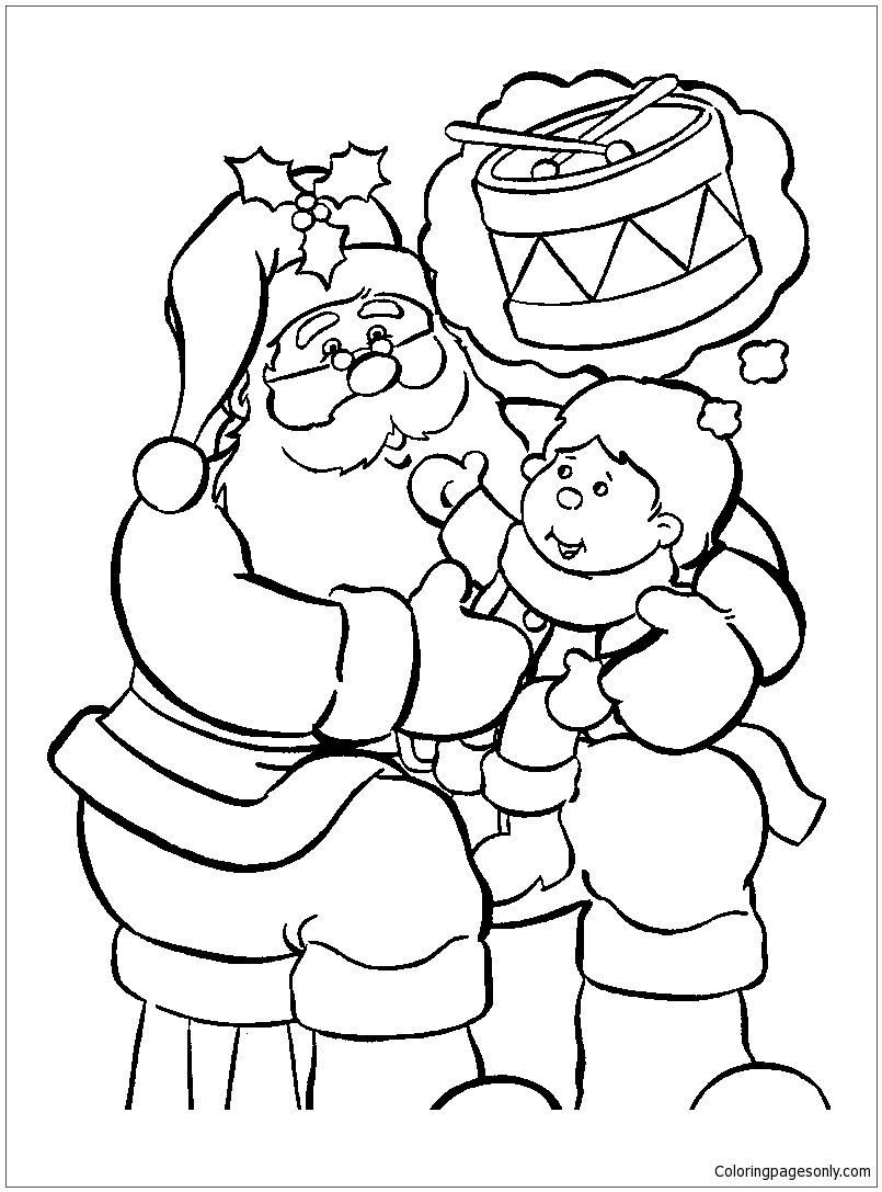 Santa Claus With Baby On Christmas Day Coloring Page Coloring Pages Christmas Coloring Pages Tinkerbell Coloring Pages