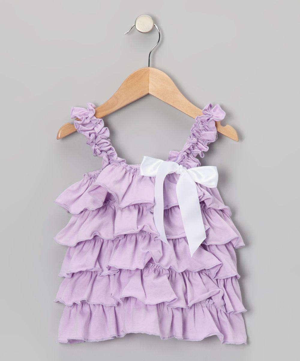 Share n smiles Lavender & White Ruffles Tank - Toddler & Girls