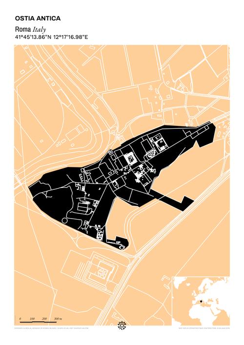 Ostia Antica Map Print By Shape Atlas Roma Italy Map Print