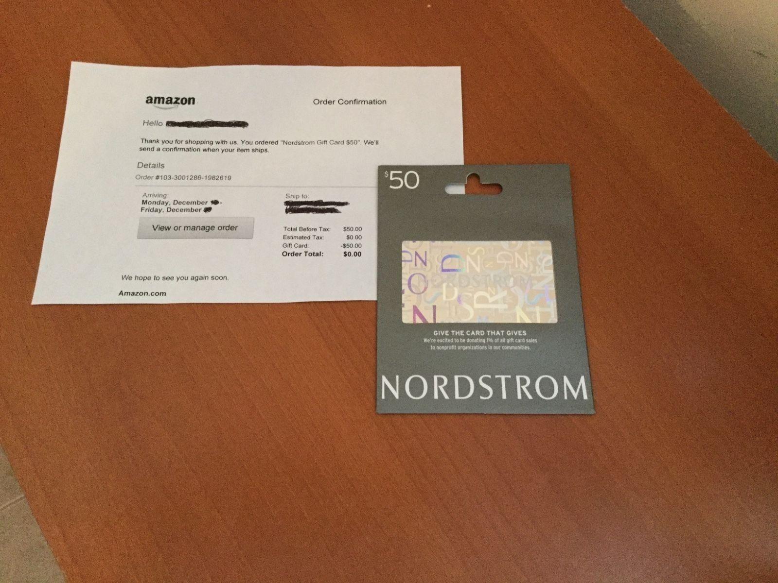 50 new nordstrom gift card original receipt 100