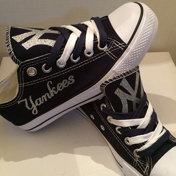 New York Yankees Handmade Converse, New York Yankees Converse Sneakers