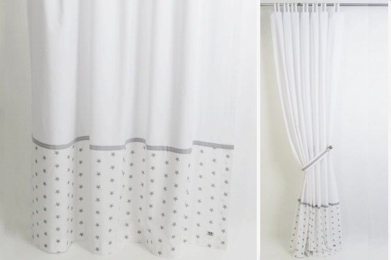 Gray And White Modern Nursery Curtain I Tab Top By Dottystripesuk