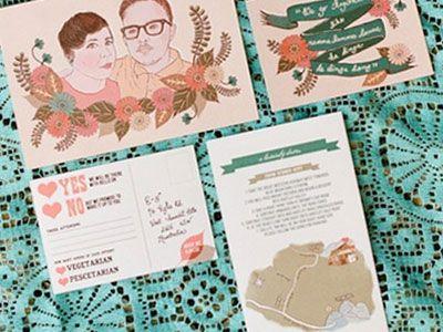 Great custom portrait wedding invite by Green Peas for Breakfast via @dribbble.