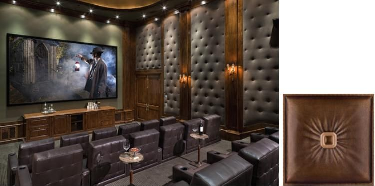 Faux Leather Tiles In Media Room Wall Panels Home Improvement Man Cave Walls Noise Absorbing
