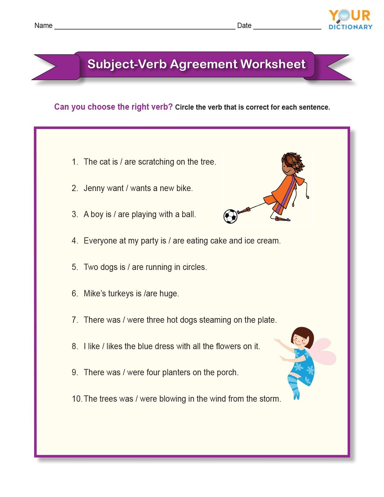 hight resolution of Subject Worksheets 3rd Grade   Subject and verb