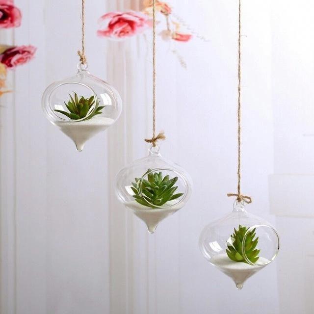 Hanging Glass Wall Planter For Flowers Plants Glass Terrariums Create Beauty In You Home Office Your Imagi Macetas Colgantes Plantas Colgantes Plantas