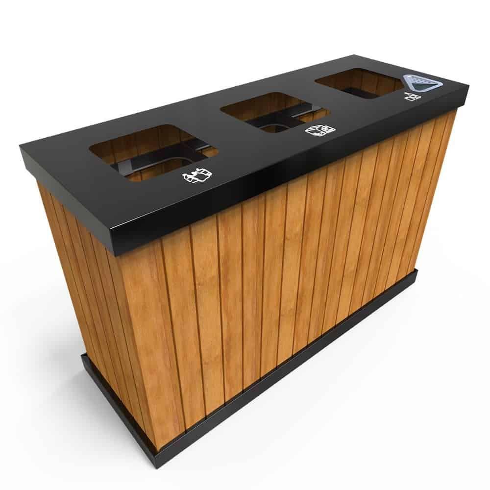 Oslo Mw Corbeille Exterieure Pour Tri Selectif 3 Ou 4 Bacs 50 Litres A 100 Litres Outdoor Recycling Bins Recycling Bins Wood Decor