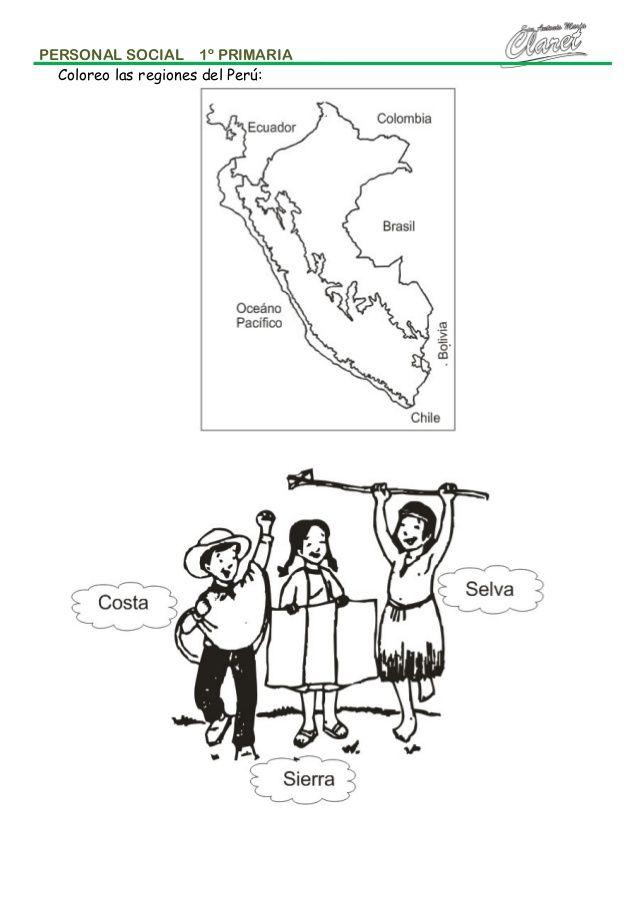 PERSONAL SOCIAL 1º PRIMARIA Coloreo las regiones del Perú ...