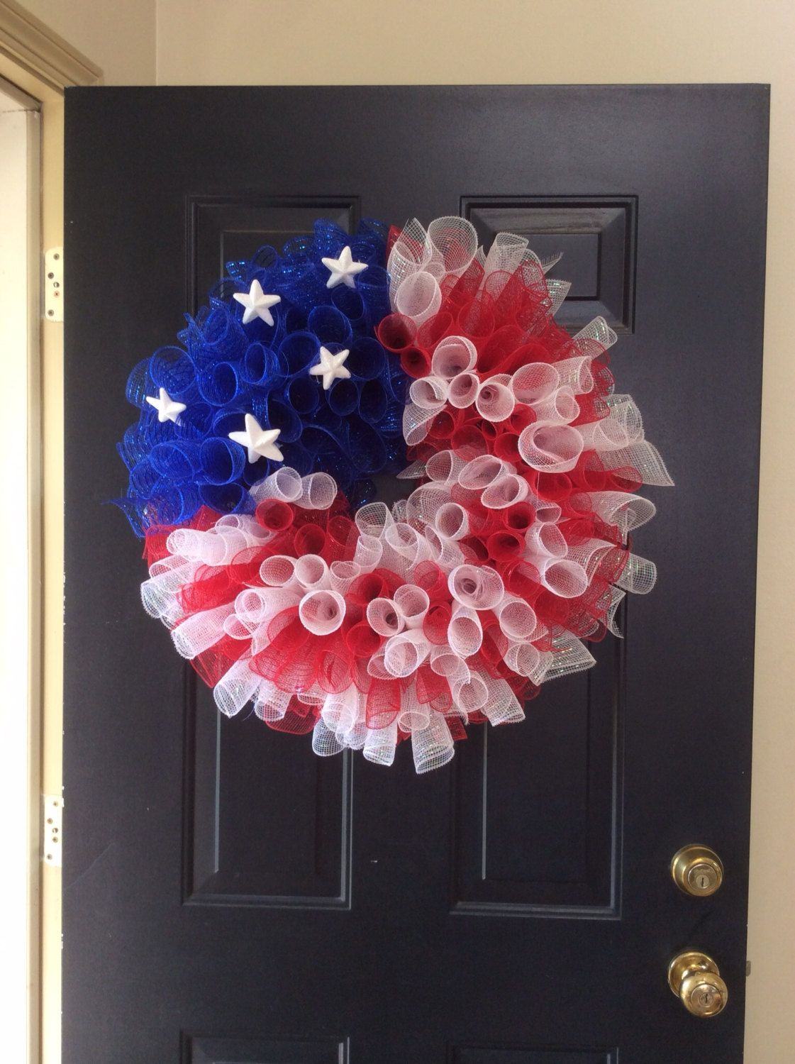 Curly Red White Blue Patriotic Deco Mesh Wreath By