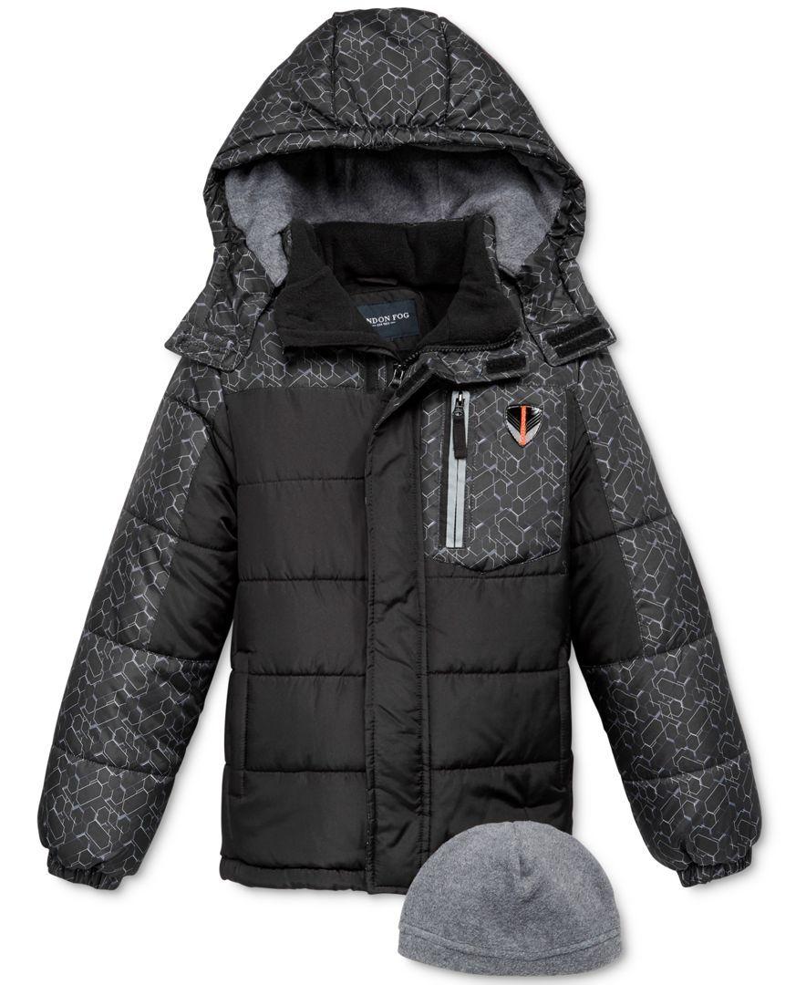 5b4c79236 London Fog 2-Pc. Hat   Hooded Puffer Jacket Set