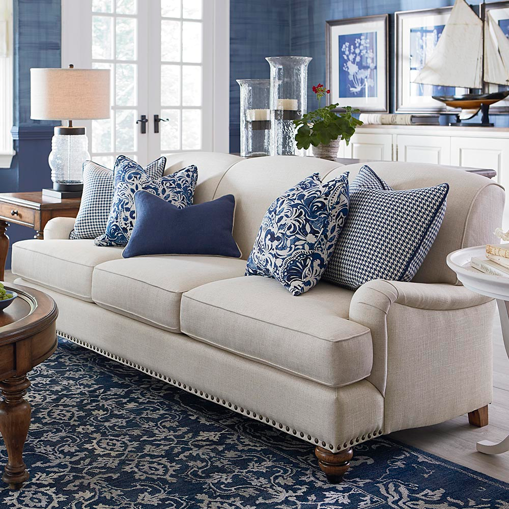 Fabric Sofa with Low Charles of London Arm  Essex  Blue living