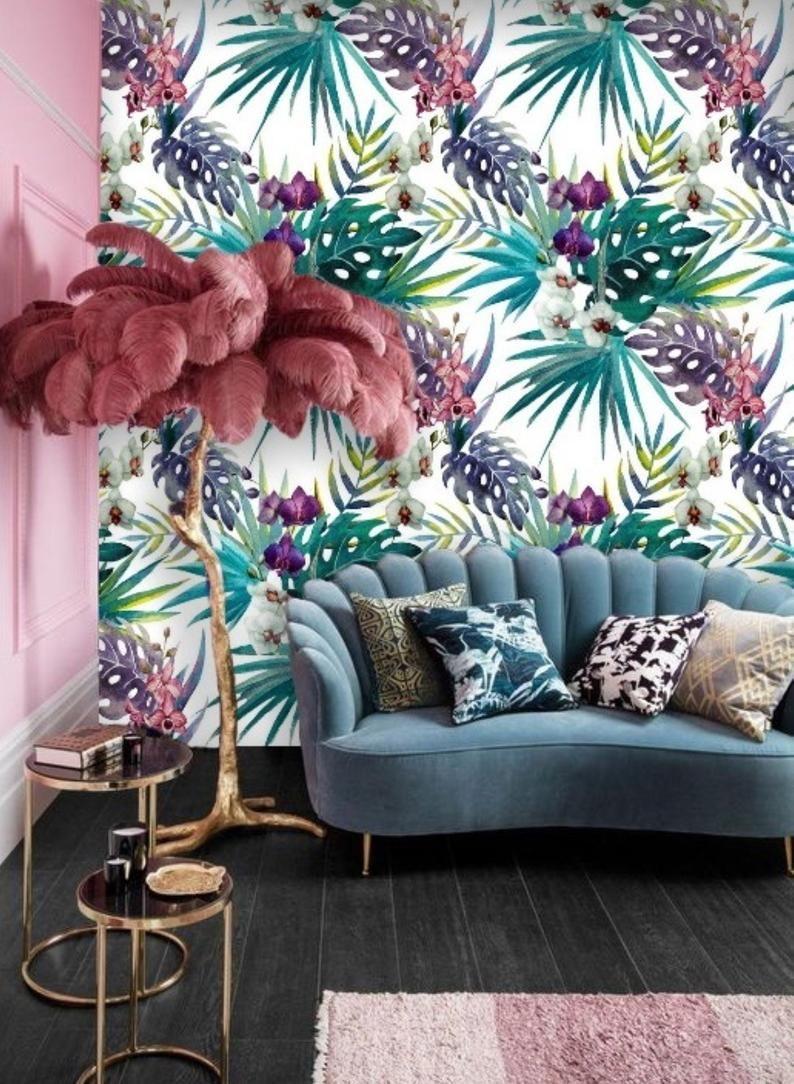 Peel Stick Removable Wallpaper Mural Remove Tropical Leaf Wallpaper Colorful Self Adhesive Wallpaper Orchid Floral Wall Paper Jungle 60 Leaf Wallpaper Mural Wallpaper Removable Wallpaper