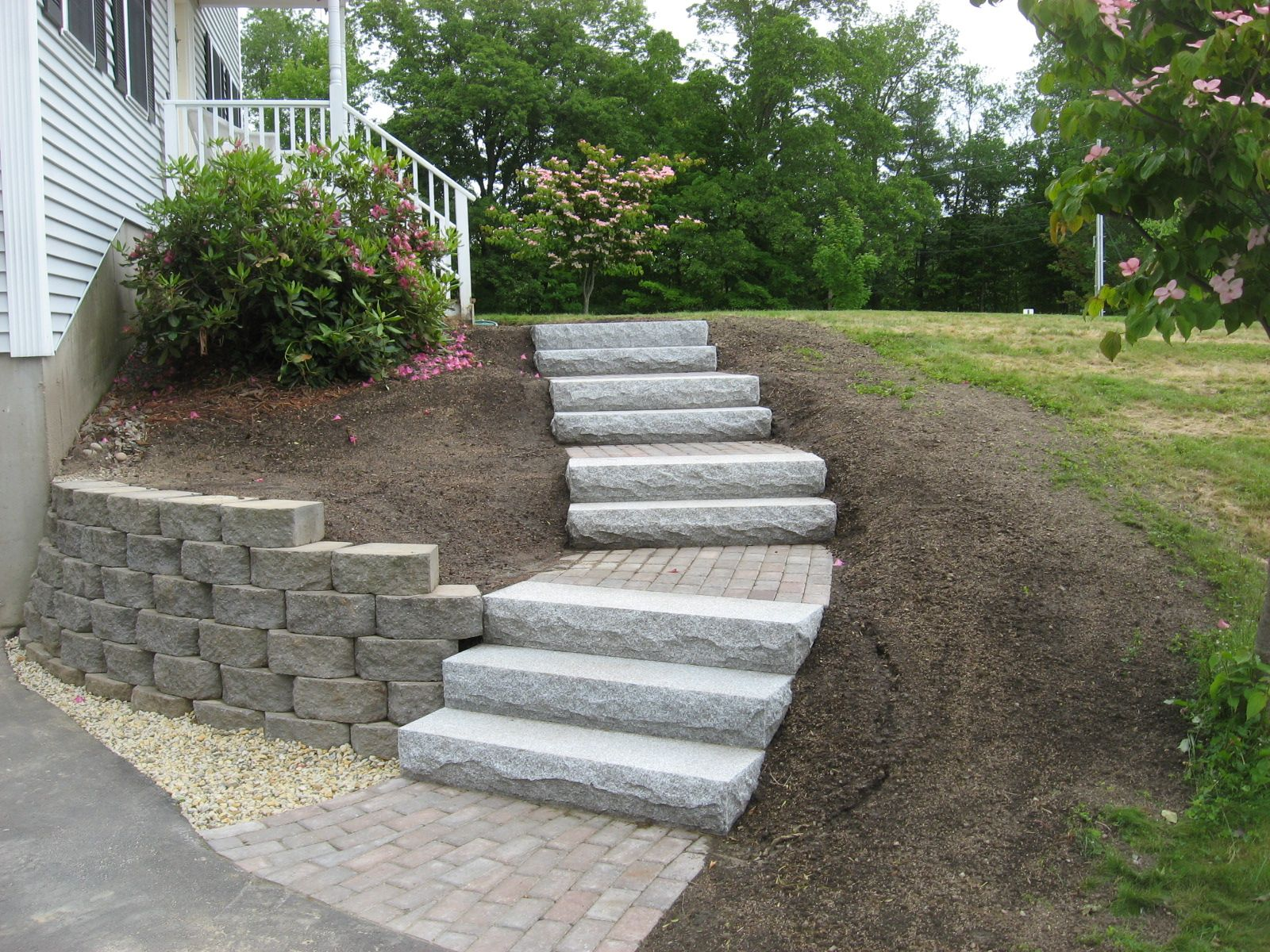 Landscaping Wall Steps : Front yard stone walkways walkway retaining wall granite steps and