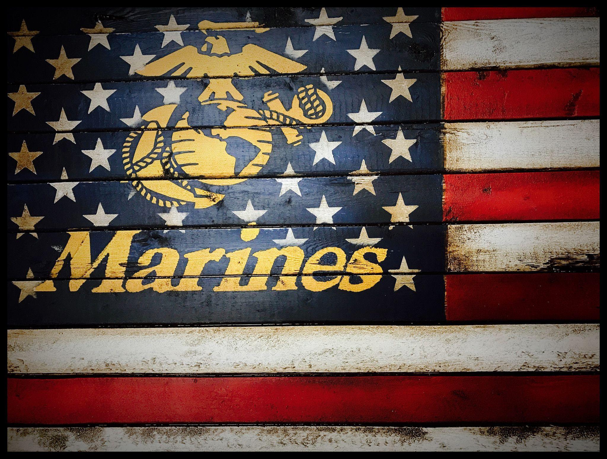 Us Marine Corp Flag American Flag Decor Wood Flag Diy Military Crafts