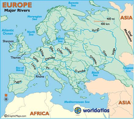 physical map of europe rivers Major Rivers of Europe   Hundreds of rivers & their tributaries