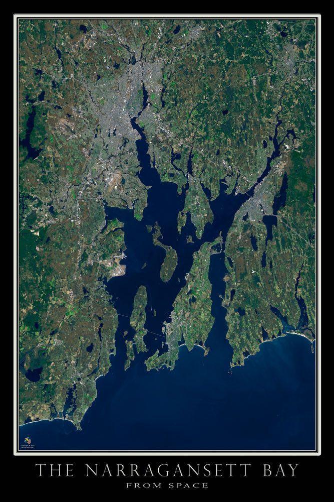 Narragansett Bay Rhode Island Massachusetts Satellite Poster Map - World map online satellite 2014